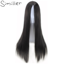 Similler Natural Black Women Synthetic Wigs Long Straight Fake Hair Afro Center Parting Heat Resistant Cosplay Blonde Brown