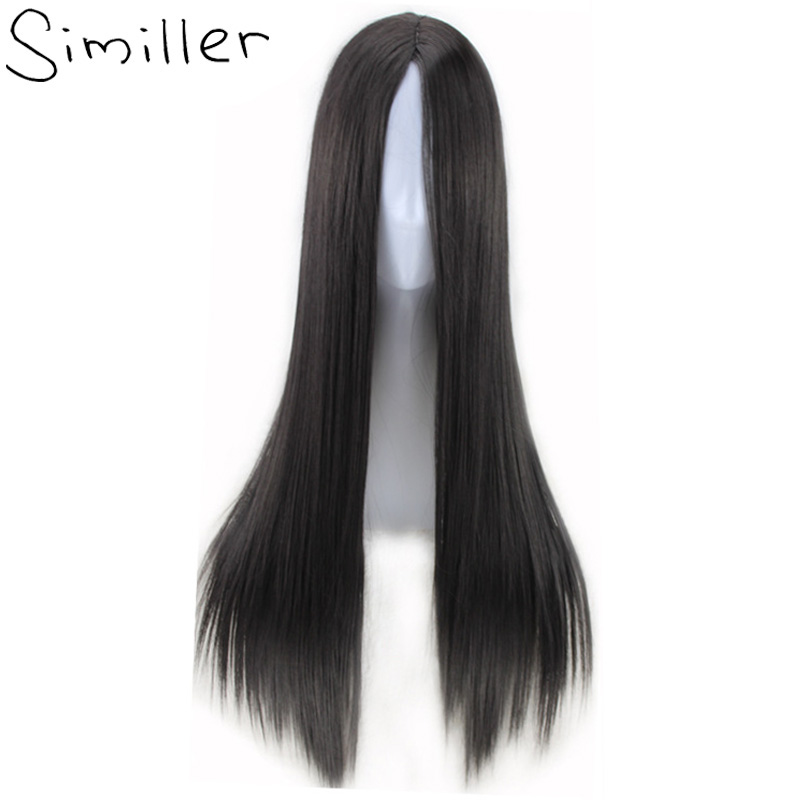 Similler Women Synthetic Wigs Long Straight Fake Hair Afro Center Parting Heat Resistant Cosplay Blonde Brown Natural Black