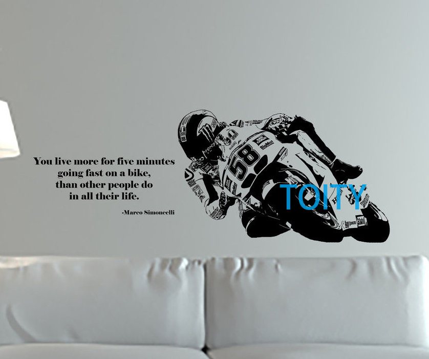 Marco Simoncelli Quote Wall Art Giant Sticker Mural Motorcycle Racer ...