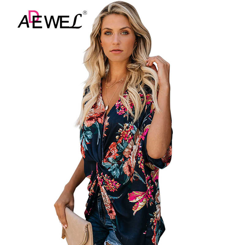 ADEWEL Plus Size Floral Print Female Top Half Sleeve Casual V Neck Women Tops Spring Summer Fashion Womens Tops and Blouses 2019