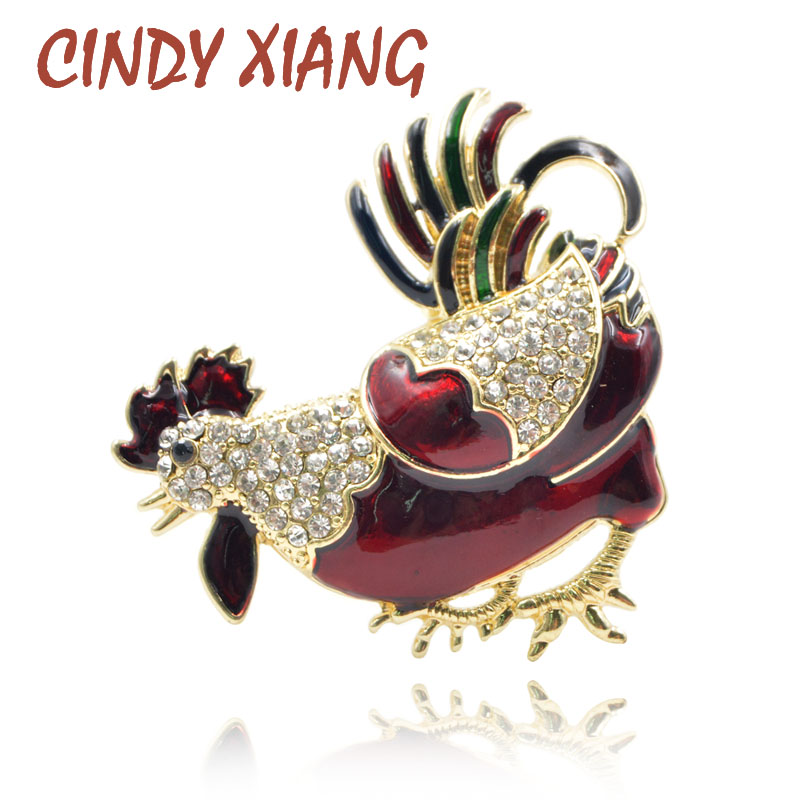 CINDY XIANG Enamel Cock Brooches For Women Rhinestone Rooster Brooch Pins  Animal Chiken Broches Fashion Jewelry Coat Ornament d960bdce8162