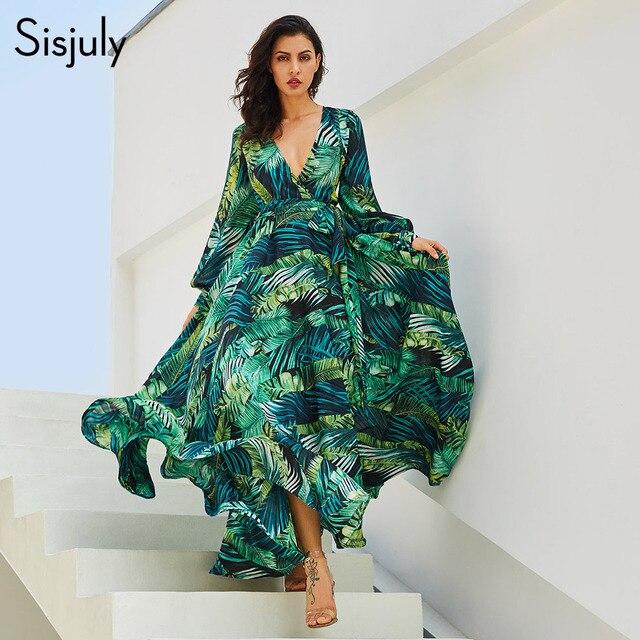 159ff58c1c6 Sisjuly Summer Dress Women Long Dress Chic Green Tropical Print Belt  Bohemian Stylish Maxi Dress Casual