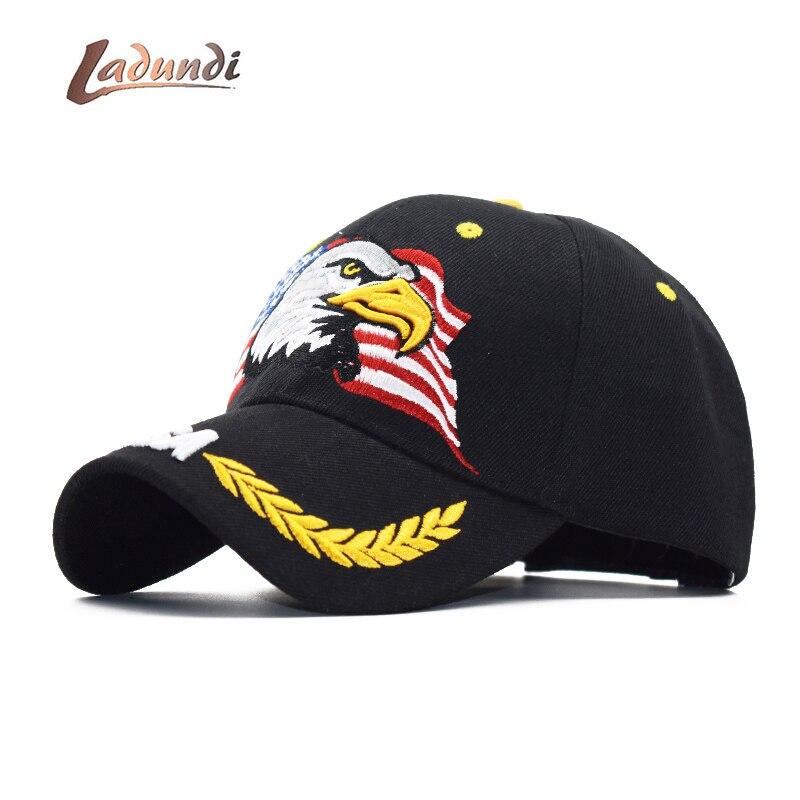 LADUNDI New Men Eagle   Baseball     Cap   American Flag Embroidery Snapback Dad Hat Bone Male Summer Casual Letter US Army Tactical Hi