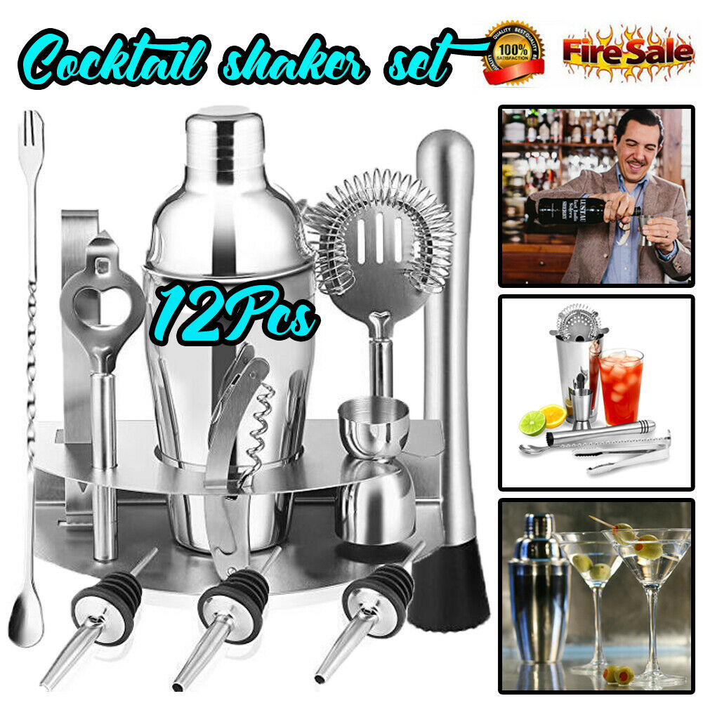 12 Pcs 550ml Stainless Steel Cocktail Shaker Mixer Drink Bartender Browser Kit Bars Set Tools Bartender Martini Tools Bar Set