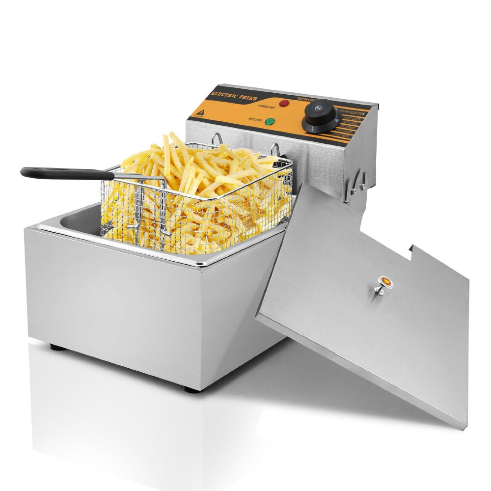 Deep Fryer Commercial Electric Fryer Deep Fat Chip Fryer 6 Litre Single Tank salter air fryer home high capacity multifunction no smoke chicken wings fries machine intelligent electric fryer