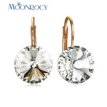 MOONROCY White Crystal Earrings Rose Gold / Silver Color Round Party Jewelry Wholesale for Women Girls Drop Shipping Gift(China)