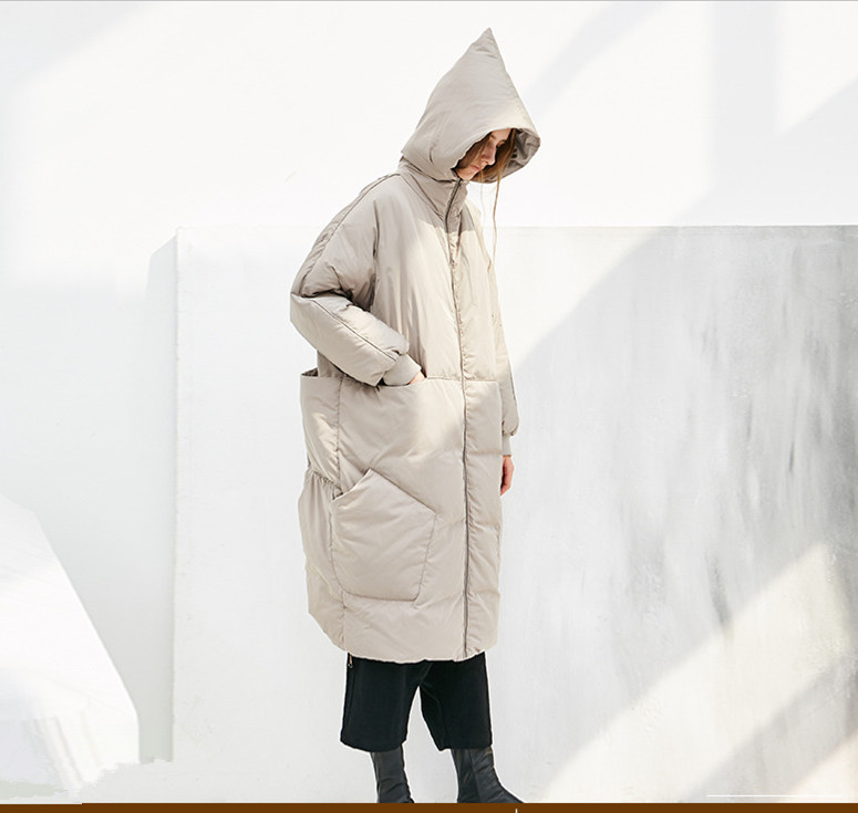 Jessica's Store Original Design Women Brief Casual Loose Thicken Warm Big Pockets Hooded Oversized Long White Duck Down Jacket