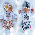 Bebes crianças Marca Romper Conjunto menino Moda little man Bodysuit + Chapéu + Calça 3 pcs Bebê Conjunto Roupa Menino a Roupa Do Bebê recém-nascido