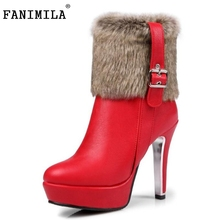 Women Brand Platform Round Toe Ankle Boots Sexy Woman High Heel Shoes Ladies Fashion Zipper Winter Botas Mujer Size 30-48