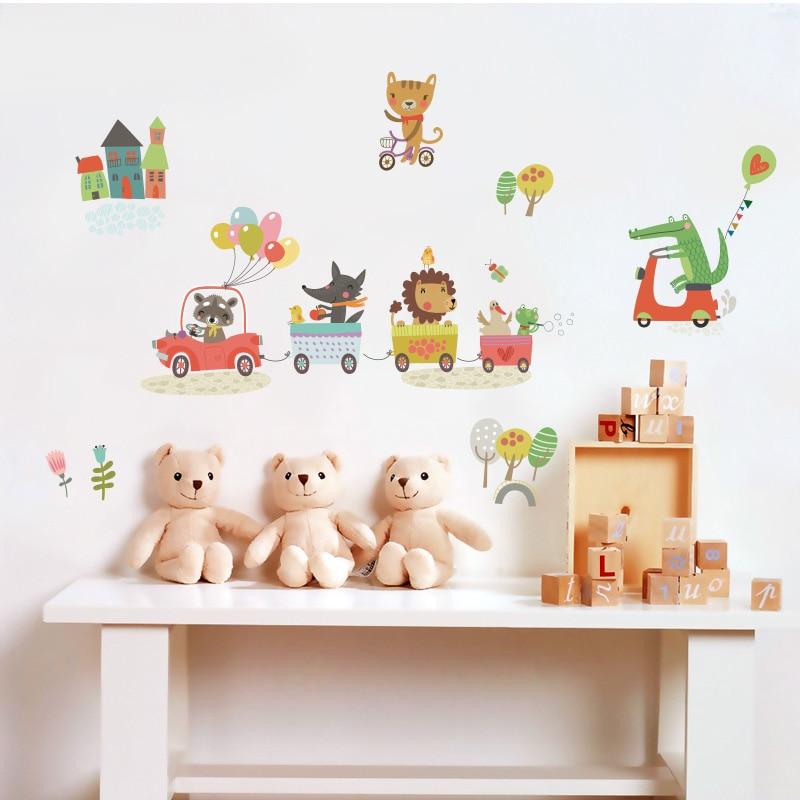Wald Tier Wandaufkleber Für Kinderzimmer Home / Store Decor DIY Abnehmbare Art Vinyl Wandbild Kinder Wandtattoo Schlafzimmer QTM285