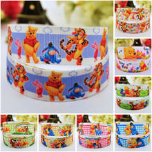 7/8'' (22mm) Winnie Bear Cartoon Character printed Grosgrain Ribbon party decoration satin ribbons OEM 10 Yards Ruban 7 8 22mm owl cartoon character printed grosgrain ribbon party decoration satin ribbons oem 10 yards