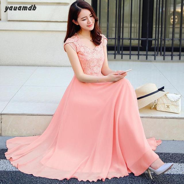 yauamdb women dress 2017 spring summer S-2XL Chiffon ladies short sleeve  Solid long dress ec4b17c72ac6