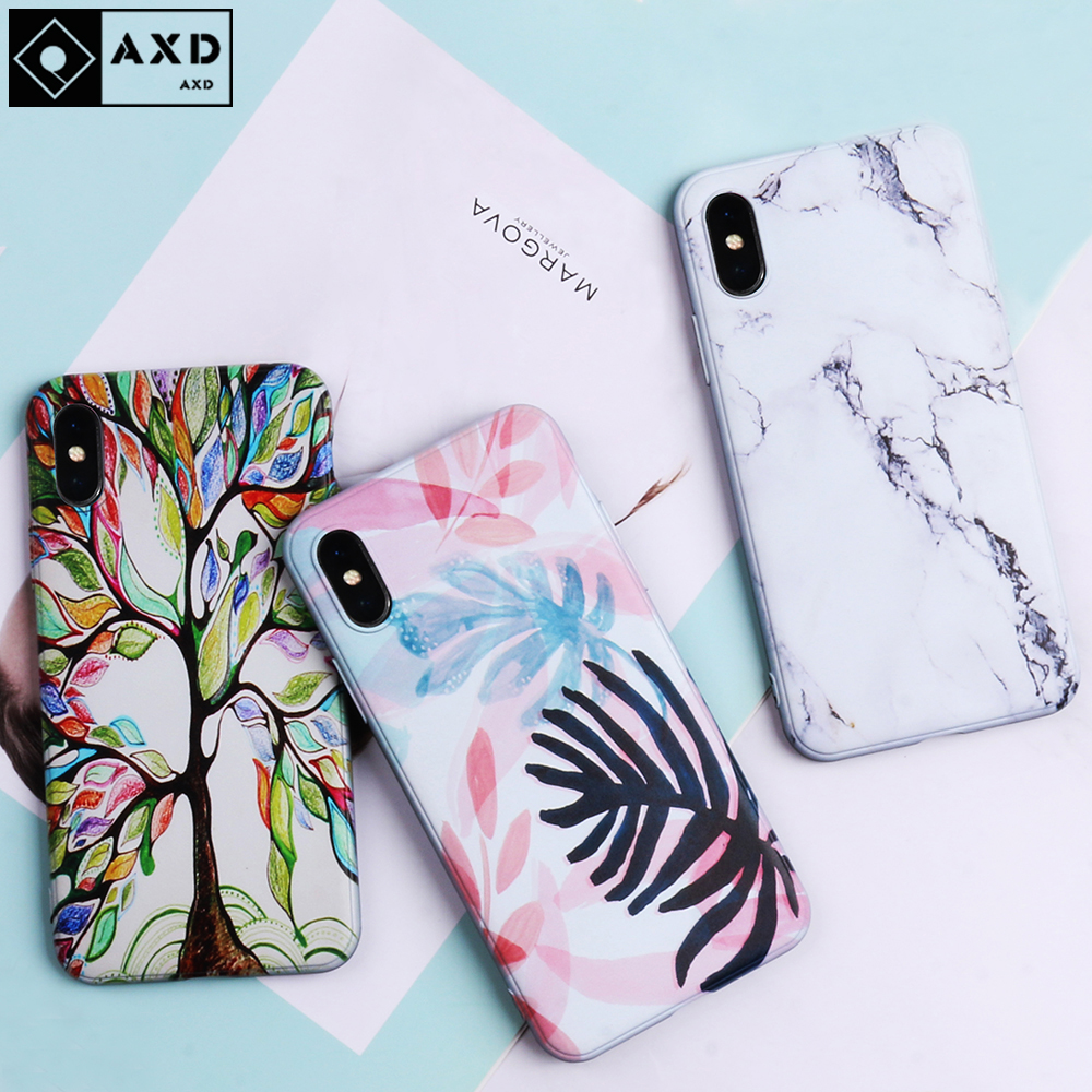 AXD Soft-Case Marble Silicone Cover Alcatel For Capa Shell Wood-Grain Print-Back Retro