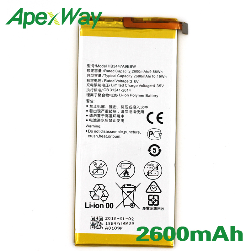 ApexWay 2PCS/lot HB3447A9EBW 2600mAh Phone battery for <font><b>Huawei</b></font> Ascend <font><b>P7</b></font> <font><b>L07</b></font> L09 L00 L10 L05 L11 image