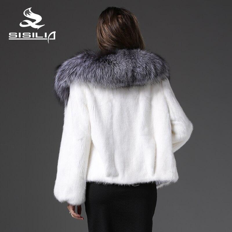 2017 Zibeline Manteaux Fox Avec Vison Femmes Silver Nouveau Vrai Pour Tricotado Manteau Fourrure D'hiver De Col Les Axw4OXAqr