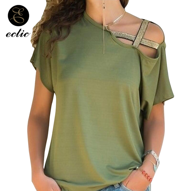 f12532c05986c Asymmetrical Top One Shoulder Vetement Femme 2019 Fashion Bandeletes  Irregular Women Tshirt Solid Color TShirt Aesthetic Clothes