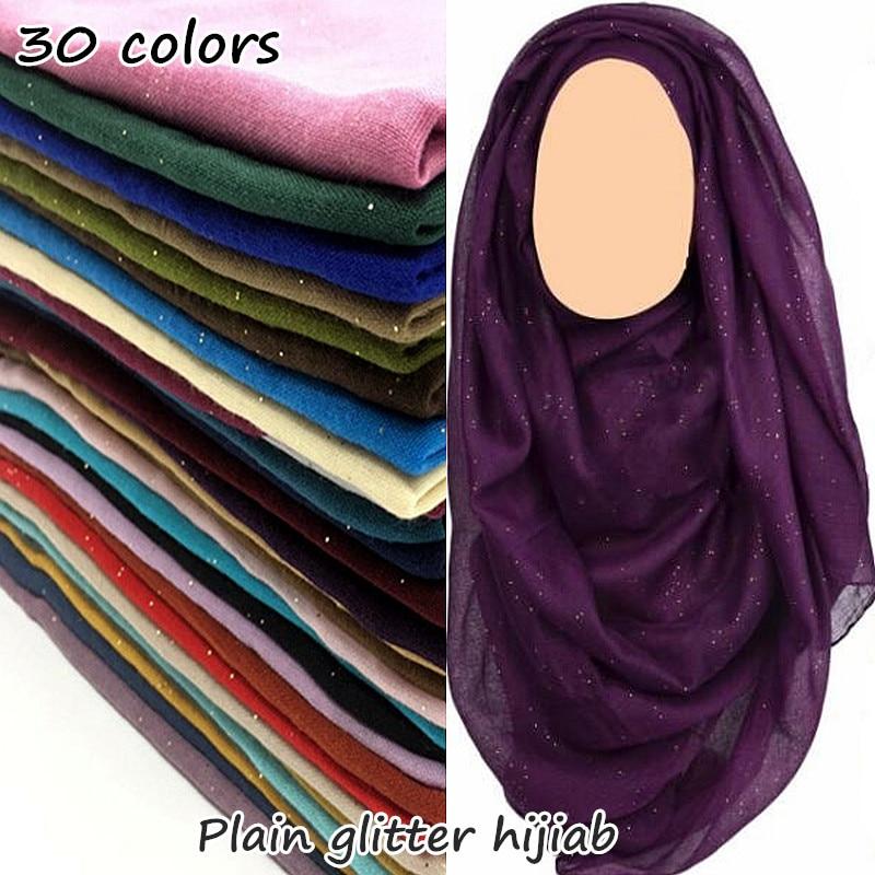 30 Colors Glitter Maxi Hijab Plain Scarf Women Shimmer Shawl Muslim Solid Shiny Shawl Long Encharpe Soft Volie Muffler Foulard