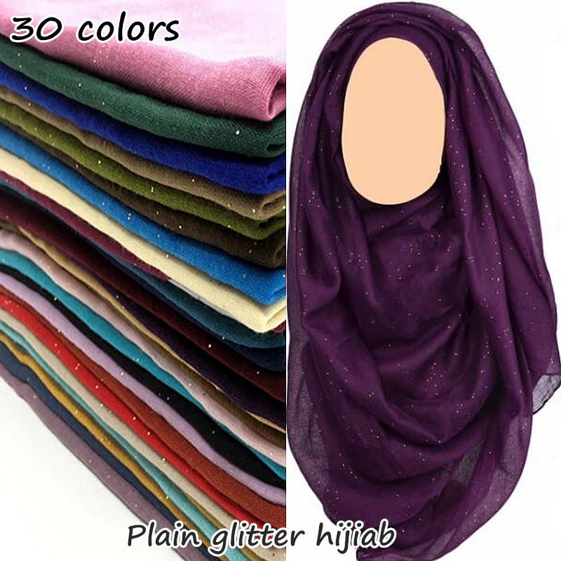 30 Colors Glitter Maxi Hijab Plain Scarf Women Shimmer Shawl Muslim Solid Shiny Shawl Long Encharpe Soft Volie Muffler Foulard
