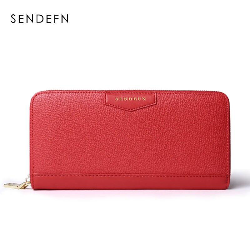 SENDEFN Fashion Brand Women Wallets Split Leather Long Lady Clutch Purse Credit Card Holder Wallet
