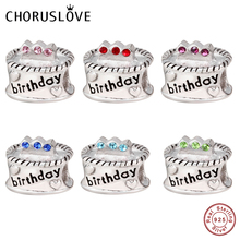 Choruslove Birthday Cake Charm 925 Sterling Silver Birthstones Beads Fit Original Pandora Charms Gift DIY Bracelet Jewelry