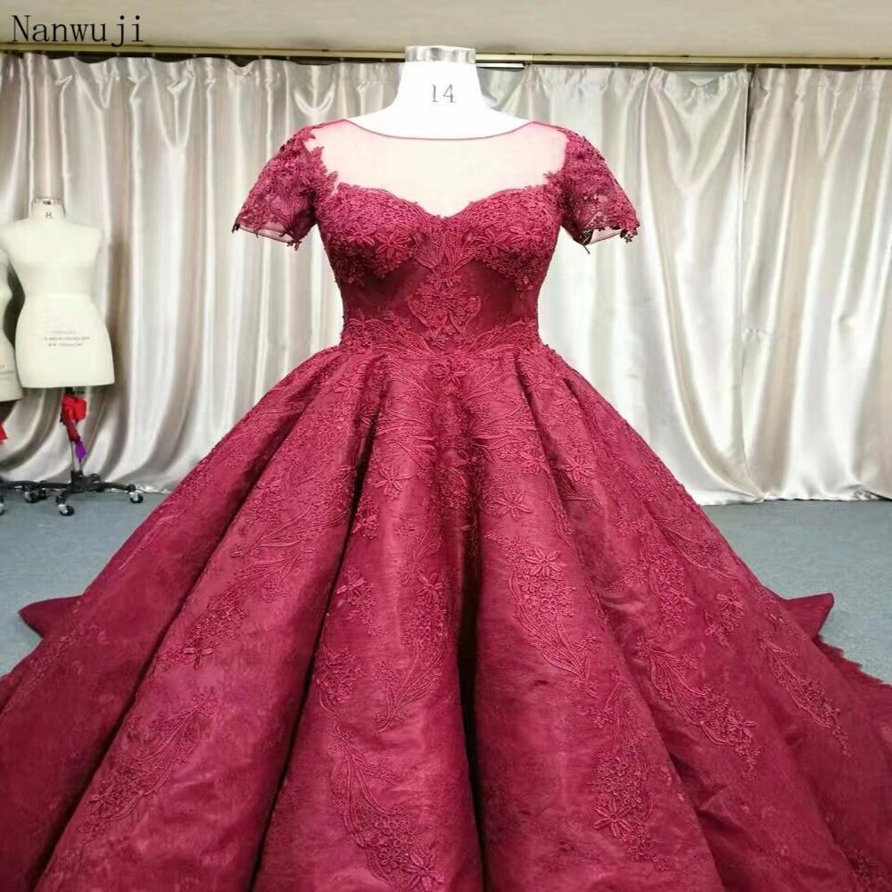 2018 Real Luxury Dark Red prinsesse blomst blonder aften kjole - Særlige occasion kjoler - Foto 3