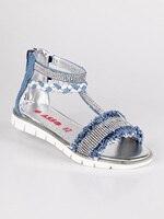 ACE azul denim sandálias com strass   -