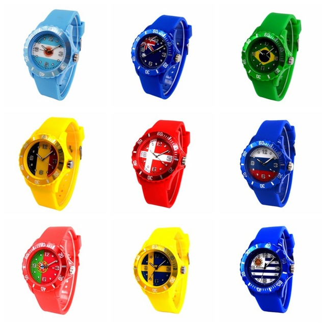Fashion Sports Wristwatches Flag Pattern Quartz Watch Red Silicone Soft Comforta