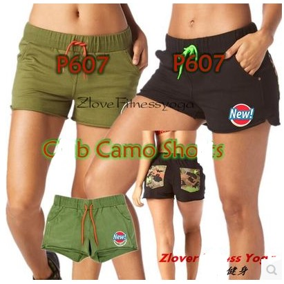 woman dance pants Club Camo Shorts women Trainning & Exercise bottoms black/army P607