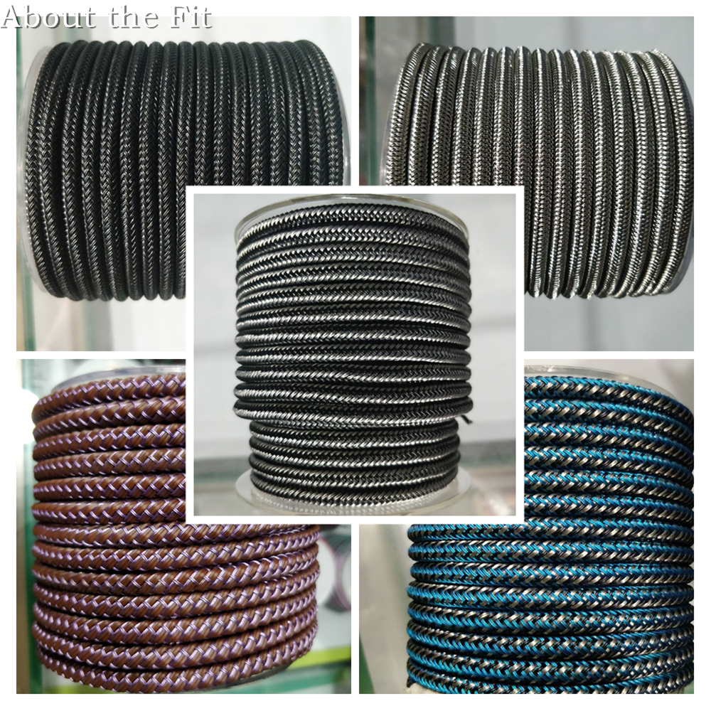 About The Fit 6mm 1M Braided Steel Wire/Leather/Rubber Jewelry Accessories Metal Wire Mesh Bands Woven Ropes Craft Collar Making
