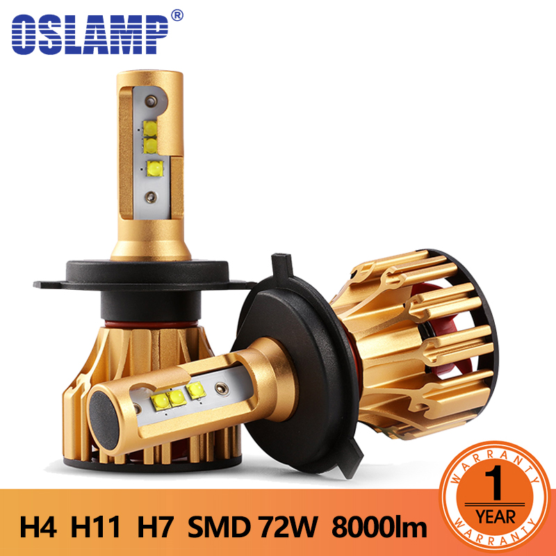 Oslamp T6 H4 Headlights Led Headlight Bulbs H7 7000lm 70W SMD Chips H11 H13 9005 9006 Auto Headlamp Led Lights White 12V 24V