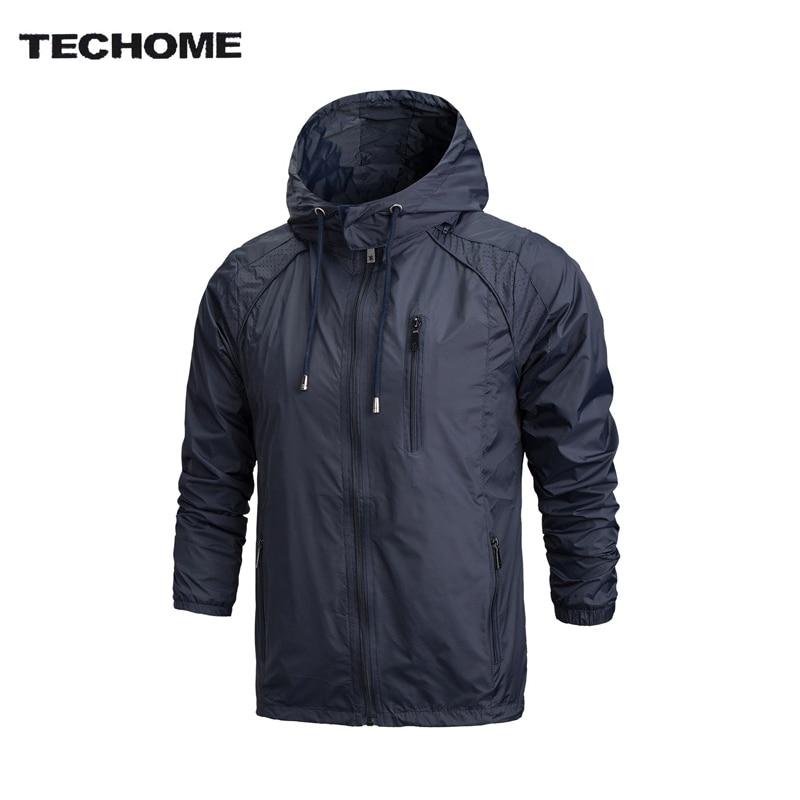 2018 primavera nuevos hombres ropa de marca Ropa deportiva hombre moda delgada chaqueta rompevientos cremallera abrigos Outwear con capucha hombres chaqueta L-4XL