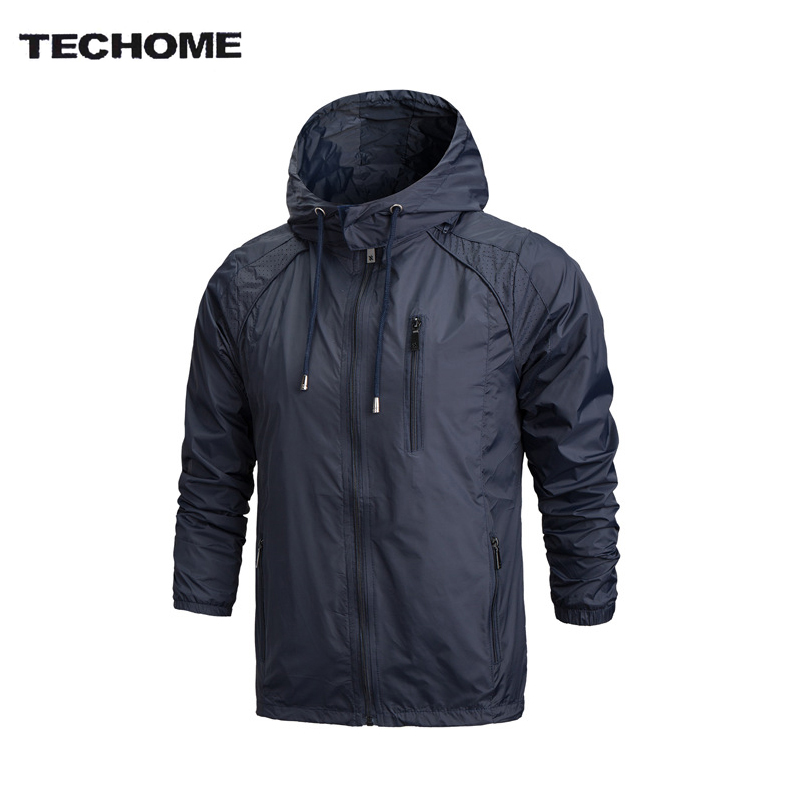 2018 Spring New Men Brand Clothing Sportswear Men Fashion Thin Windbreaker Jacket Zipper Coats Outwear Hooded Men Jacket L-4XL