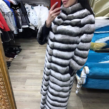 2018 Warm Overcoats Real Fur From Nature Chinchilla Rex Rabbit Fur Coat With Fashion O-neck Collar X-long Rabbit Jackets Female