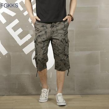 FGKKS Men Printing Fashion Shorts Summer Men's High Quality Breathable Multi Pocket Shorts Male Comfortable Cargo Shorts Men's Casual Shorts