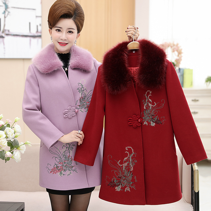 Nouvelles La De Moyen D'âge Dames Brodé 5xl Manteau Femmes red Laine Automne Mode Plus Long gray Taille rose D'hiver Pink Et wI0xnqCOId
