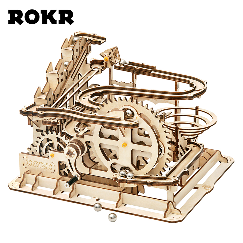 ROKR DIY Marble Run Game 3D Wooden Puzzle Gear Drive Waterwheel Coaster Model Building Kit Toys