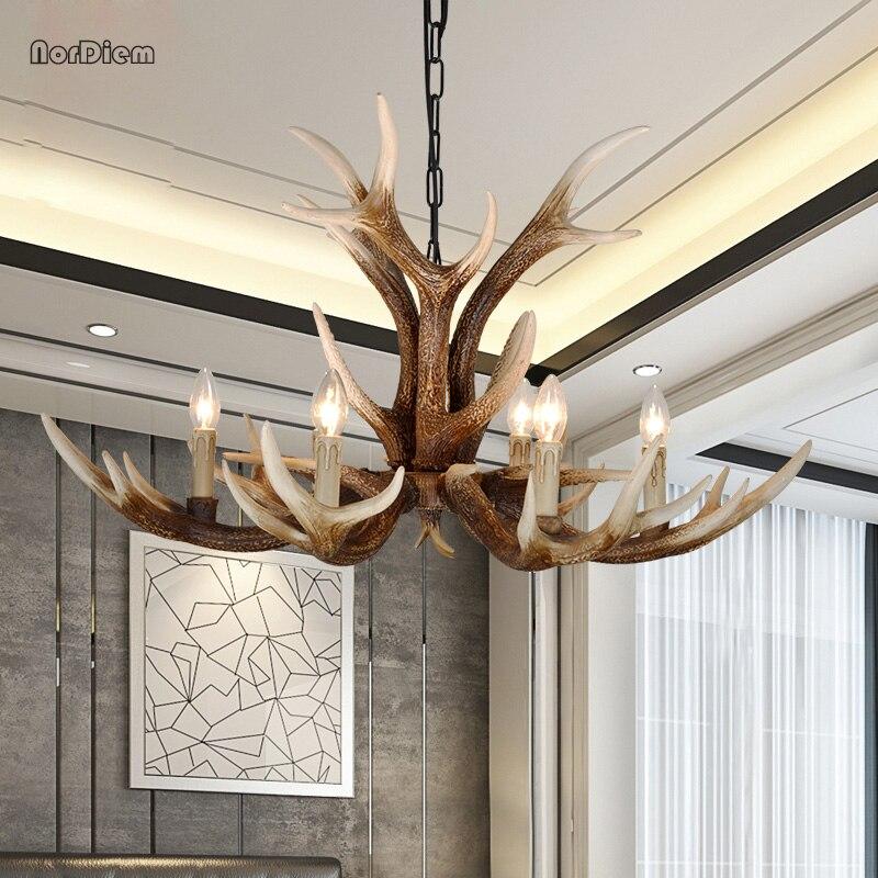 цена на 6/8/10 Head Modern Antlers Chandelier Light American Resin lamp Candle Chandelier for Living Retro Brown Deer Horn Lamps Fixture