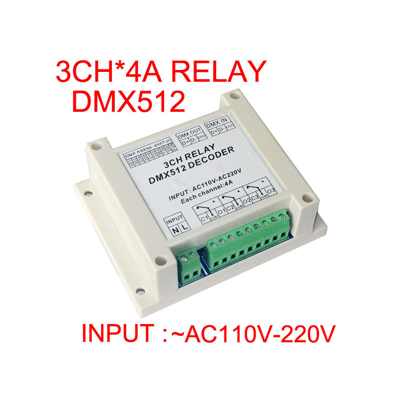 цена на 2015 new high quality 1 pcs input AC110-220V DMX-RELAY-3 channel dmx512 relays use for led lamp led strip lights