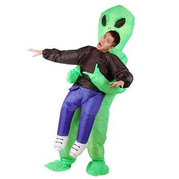 Disfraz inflable verde Alien para adultos Navidad/Halloween/Cumpleaños/Fiesta de maquillaje Juguetes Divertidos ET Dress up traje de Cosplay