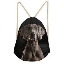 Casual Women Drawstrings Bags Cute 3D Dog Weimaraner Print for Teen Girls Travel Backpacks Bundle Storage Beach BagsSumka
