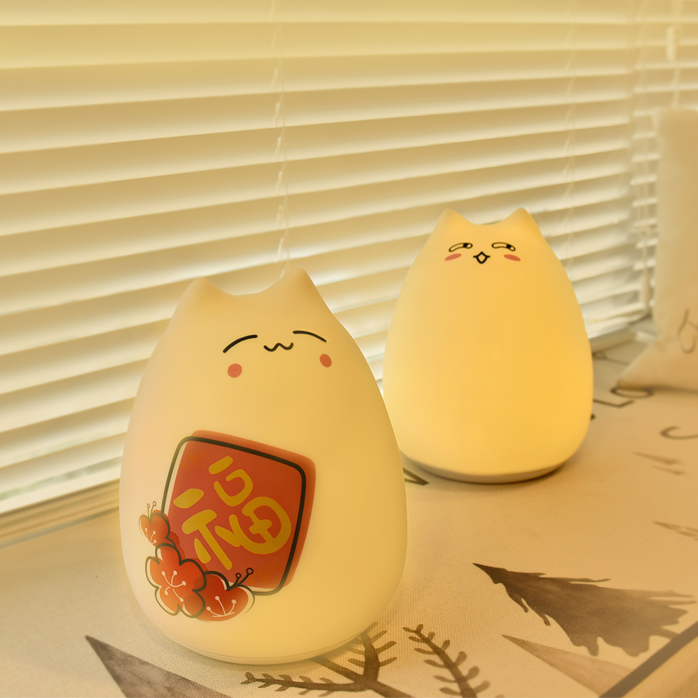 LED Night Light Silicone Cat Colorful lamp Baby Kids night lamp companion Soft touch with Remote control USB Rechargeable Cat colorful cat cartoon usb charging led night light