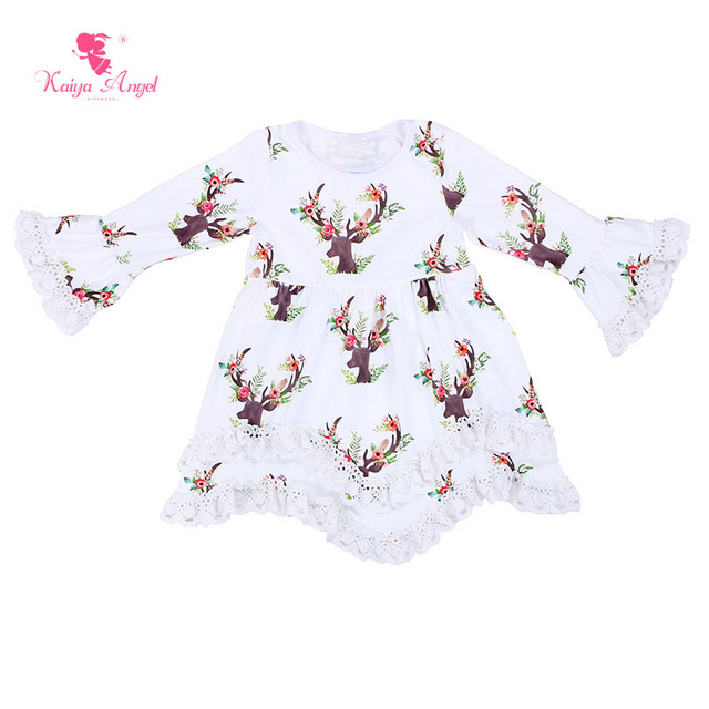 a1d7d5425 US $56.01 25% OFF|Kaiya Angel Girls Dress Deer Kids Dresses For Girls  Christmas Deer Dress With Lace Ruffle Wholesale Toddler Kids Baby Girl  Dress-in ...