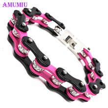 AMUMIU Male Bracelet Biker Bicycle Cuff Bracelets Punk Rock For Men Motorcycle Link Chain Cool Bangles Stainless Steel B022 lasperal 1pc stainless steel bracelet biker bicycle bracelets for men punk rock bracelets jewelry high quality male jewelry