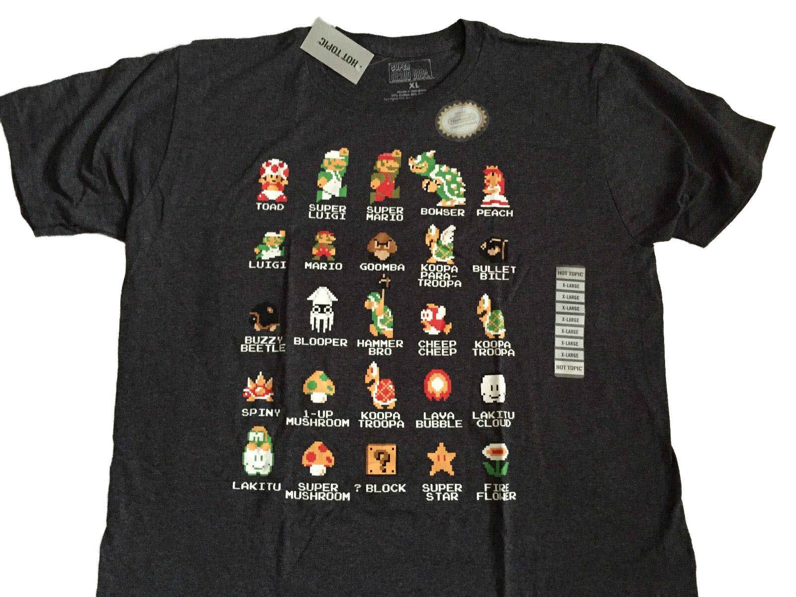Super Mario Bros Nintendo NES 8 Bit Cast Vintage Classic Video Game T-shirt Zomer Men'S fashion Tee 2019 fashion t-shirt