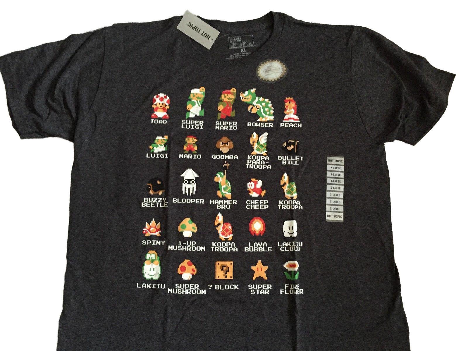Super Mario Bros Nintendo NES 8 Elenco Pouco Jogo De Vídeo Clássico Do Vintage T Camisa Verão Homens de moda T 2019 moda camisa de t