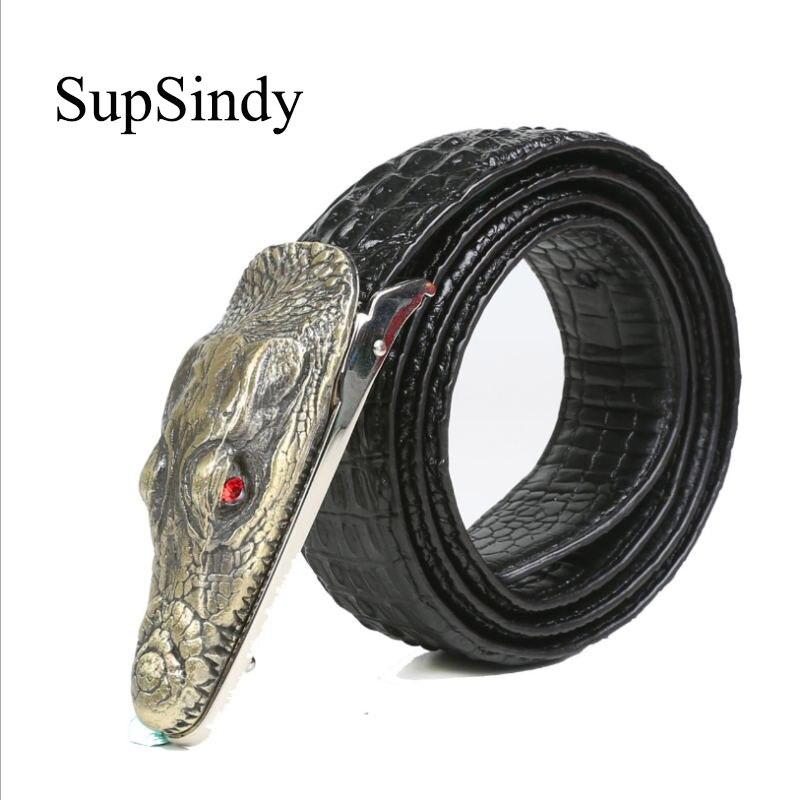 SupSindy men's   belt   Luxury cow Leather crocodile Alloy buckle   Belts   for men top quality Busines Casual male strap Ceinture Homme