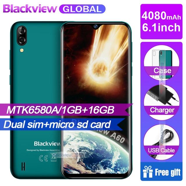 חדש הגעה Blackview A60 Smartphone 4080 mAh סוללה 19:9 6.1 אינץ מצלמה כפולה 1 GB RAM 16 GB ROM נייד טלפון 13MP + 5MP מצלמה