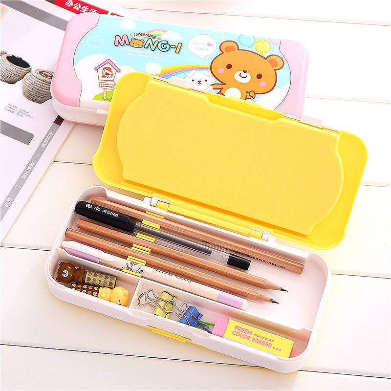 DELI effective cute cartoon multifunction pencil case stationery box children three layer plastic estuches school supplies boxes new arrival deli sweet house children pencil sharpeners 0724 cute cartoon students mechanical pencils writing supplies blue