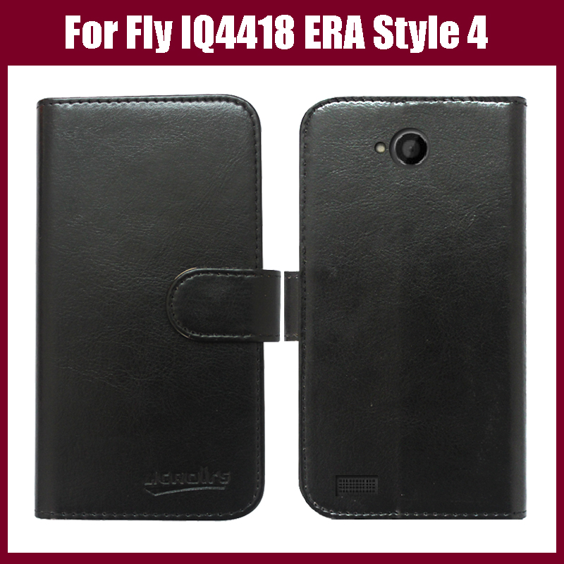 New arrival! Flip Leather case cover for Fly IQ4418 ERA Style 4 Mobile phone with card holder wallet style six colors.