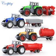 Coolplay 4pcs/set Alloy engineering car tractor toy model farm vehicle belt boy toy car model children's Day Xmas gifts N06